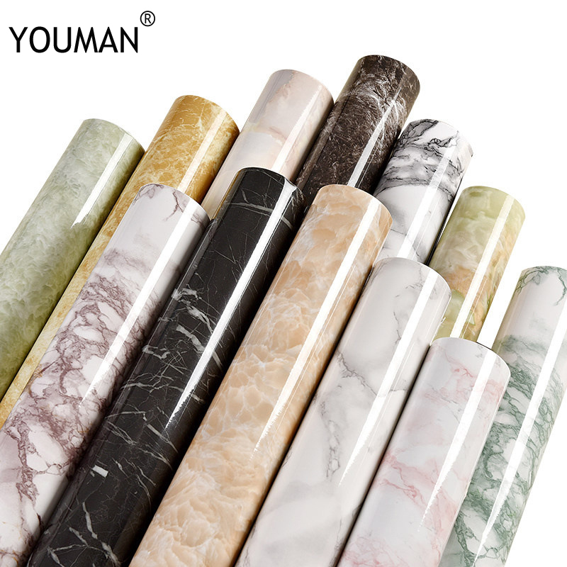 Wallpapers YOUMAN 10M Marble Waterproof Vinyl Self Adhesive Wallpaper Modern wall Paper Kitchen Renovation Stickers Wallpaper