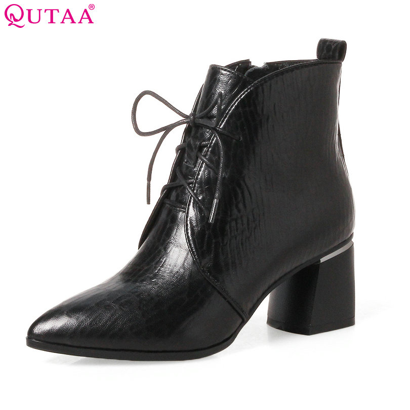 QUTAA 2018 Women Ankle Boots Lace Up Square High Heel Pointed Toe Black Genuine Leather Fashion Women Ankle Boots Size 34-42 sfzb new square toe lace up genuine leather solid nude women ankle boots thick heel brand women shoes causal motorcycles boot