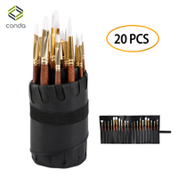 20 Pcs Chip Paint Brushes Set CONDA Watercolor Oil Acrylic Paint Brush Professional Wood Handle with PU Leather Case Art Brush