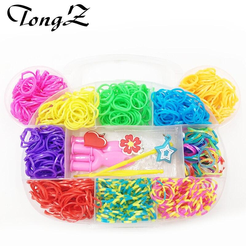 Bear Boxed Bands Rainbow DIY Bracelet Colorful Elastic Rubber Bands Charm Plaiting Gum for Weaving Bracelets