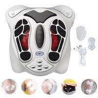 Electric Foot Massager Far Infrared Pressure Points Foot Massage Machine Reflexology Feet Care Body Slimming Belt 8 EMS Pads