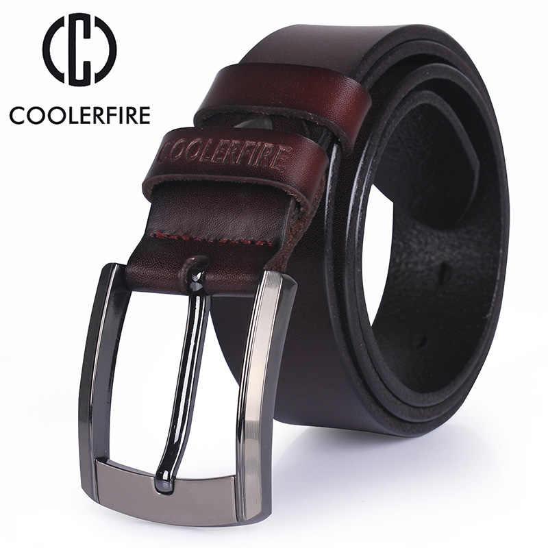 Pria Tinggi Kualitas Asli Leather Belt Mewah Desain Sabuk Pria Cowskin Fashion Tali Pria Jeans untuk Pria Koboi Gratis Pengiriman