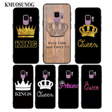 цена на For Samsung Galaxy Note 9 8 S10 S9 S8 Plus Lite S7 S6 Edge S5 Mini Black Silicone Phone Case King Queen Couple crown Style
