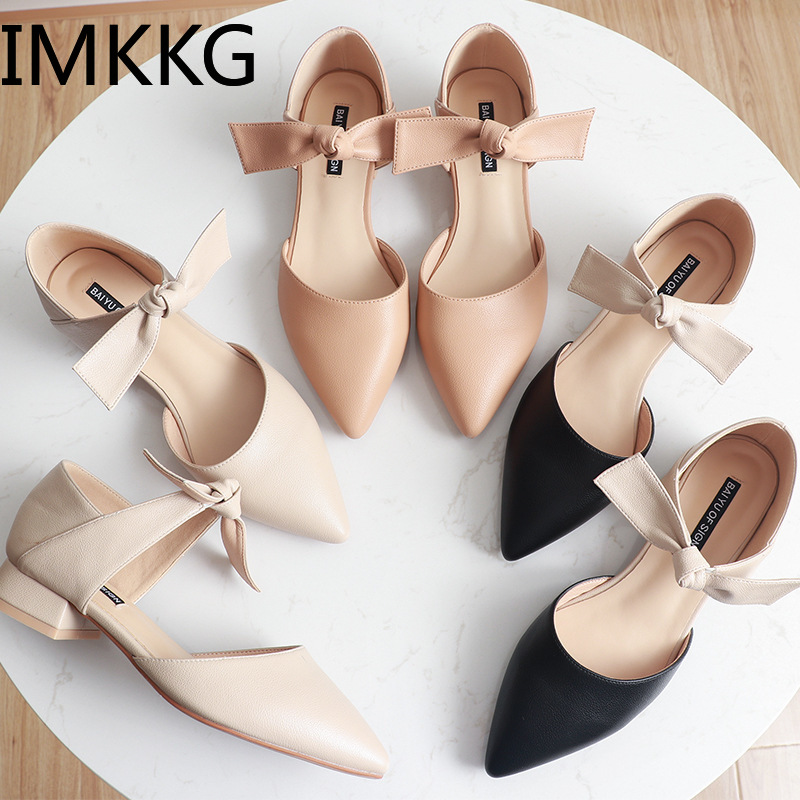 2019 summer open back bowtie ankle strap ballet flats woman shoes pointed toe women sandals F90167