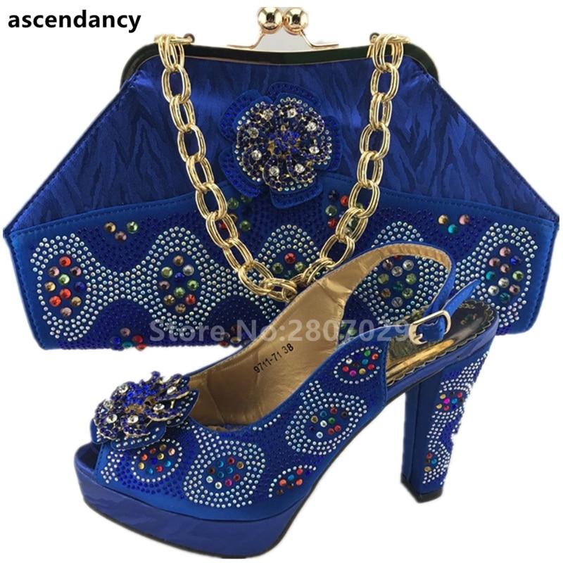 Ensemble Bleu Les Sacs Assortis Africain Nigérian Nouvelle Et Italien rouge Chaussures 2018 Femmes Arrivée Parti Sac Ensembles Pompes xzaUI1