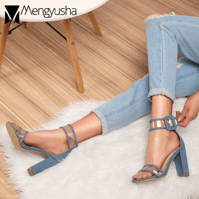 cfdeccfff5a ankle high sandals woman sandals buckle heels women women pvc boots  transparent gladiator strap chunky sandals ...