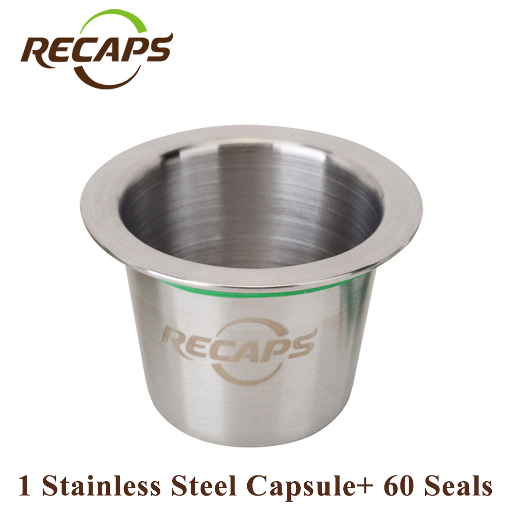 RECAPS Refillable Reusable Stainless Steel Refill Coffee Capsulas For Nespresso Machines Maker 1 Pod + 60 Seals