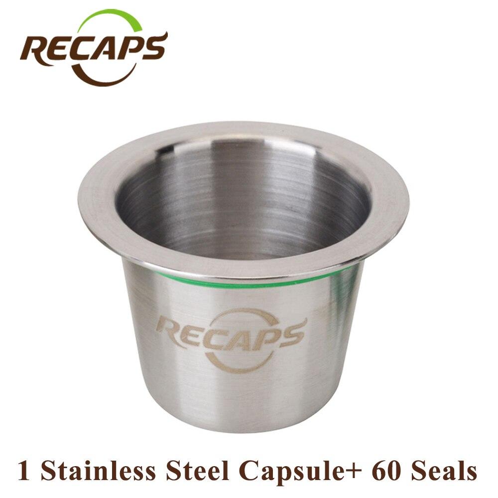 RECAPS Riutilizzabile Riutilizzabile In Acciaio Inossidabile Ricarica Caffè Capsulas per Macchine Nespresso Maker 1 Pod + 60 Seals
