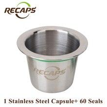 Nachfüllbar Nespresso Kapseln (1 pod + 60 dichtungen) Edelstahl Nachfüllen Wiederverwendbare Kaffee capsulas kompatibel nespresso kapsel