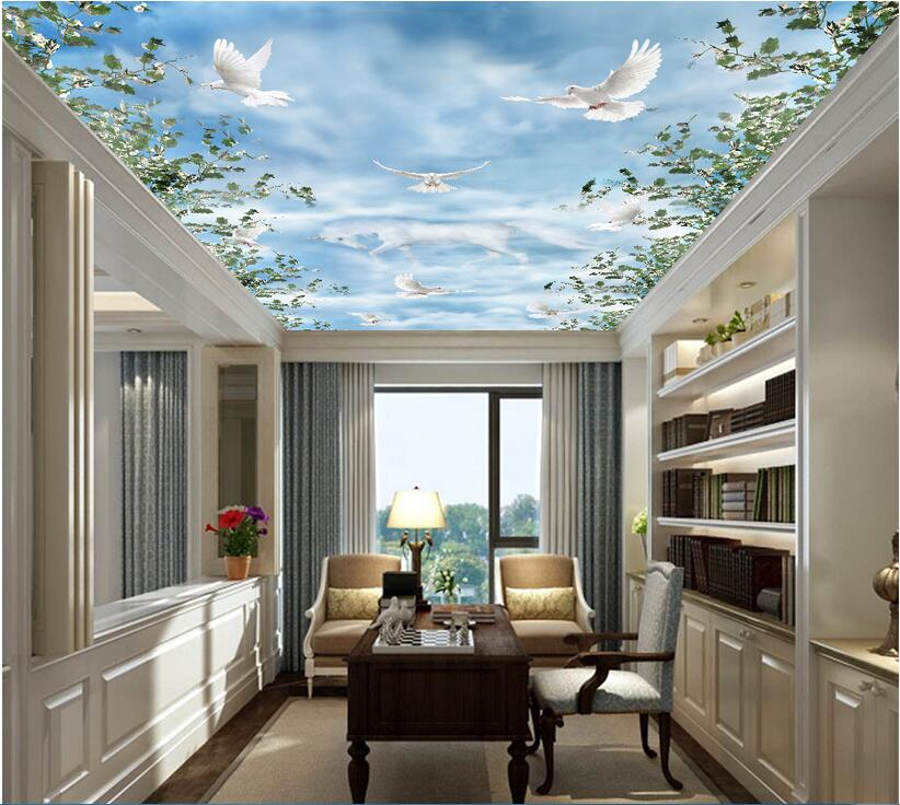 3d room ceiling murals wallpaper custom photo non-woven The unicorn dove in the sky decoration painting 3d wall murals wallpaper custom photo 3d ceiling murals wallpaper sky white clouds dove leaves decor 3d wall murals wallpaper for living room painting