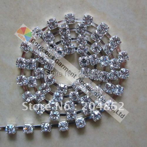 10Y Single row Clear Crystal Rhinestone Cup Chain with SS16 4mm stones Gold  Silver Set For DIY Browband Costume Accessories 9c653a3afbf3