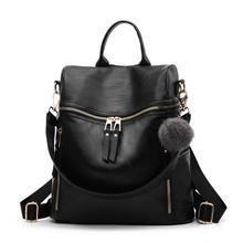 Pu Leather Backpack for Women Zipper Backpack Student School Bag for Teenager Girls large Casual Travel Bags mochila feminina