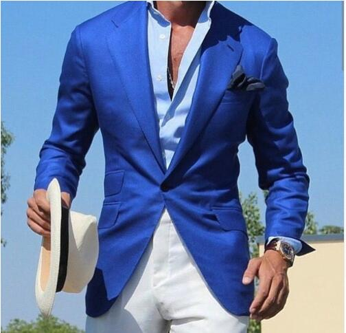 Blue Suit Men Blazer Beach Wedding Men GROOM Suit With Pants Smart Terno Slim Fit Tuxedo Coat Prom Jacket Costume Homme Mariage