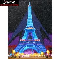 Dispaint LED Light Full Round Drill 5D DIY Diamond Painting Eiffel Tower 3D Embroidery Cross Stitch Mosaic Decor Gift 30X40cm