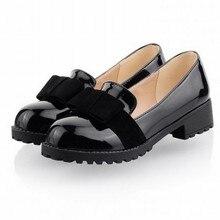 ขนาดบวก34-43ผู้หญิงโลฟเฟอร์แฟชั่นโบว์สิทธิบัตรหนังO Xfordsสำหรับผู้หญิงแบนสุภาพสตรีรองเท้าลำลองรองเท้าส้นเตี้ยสีดำ+สีแดง+สีน้ำตาลรองเท้า