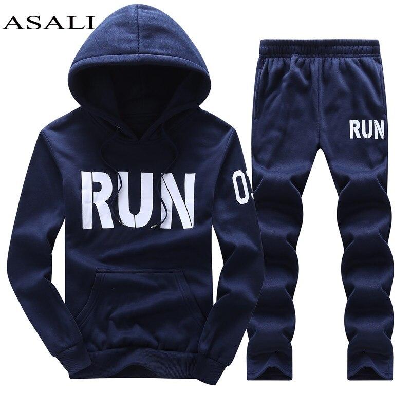ASALI Marque Vêtements Pour Hommes Set Sport 2017 Automne Hoodies Sweats Survêtements de Jeux Sportifs Hommes Mens Veste + Pantalon 2 pcs