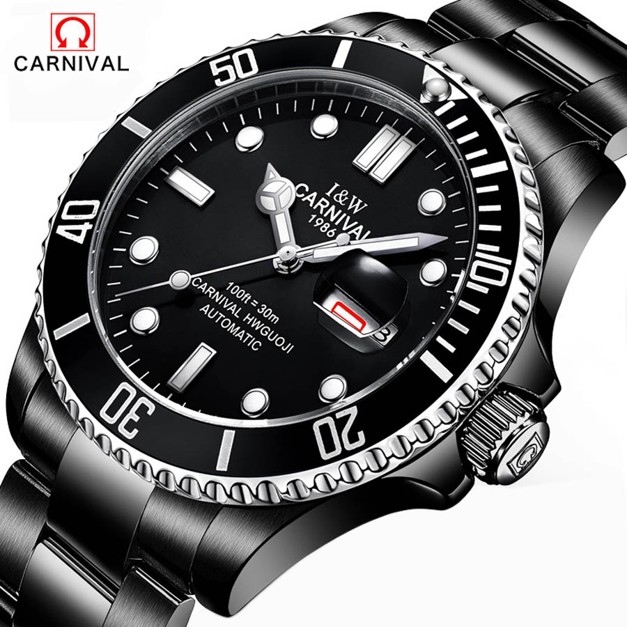 Top Brand Luxury Mens Watches Automatic Mechanical Watch Sapphire Waterproof 30M Full Black Steel Clock relogio masculino sollen mens automatic mechanical watch diamond gold full steel sapphire waterproof luminous male luxury top brand watches reloj