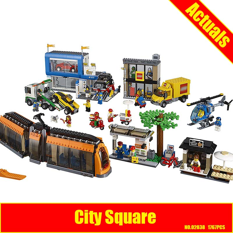 Lepin 02038 City Square building bricks Toys for children Game Model Car Gift Compatible with Decool Bela 60097 1710 city swat series military fighter policeman building bricks compatible lepin city toys for children