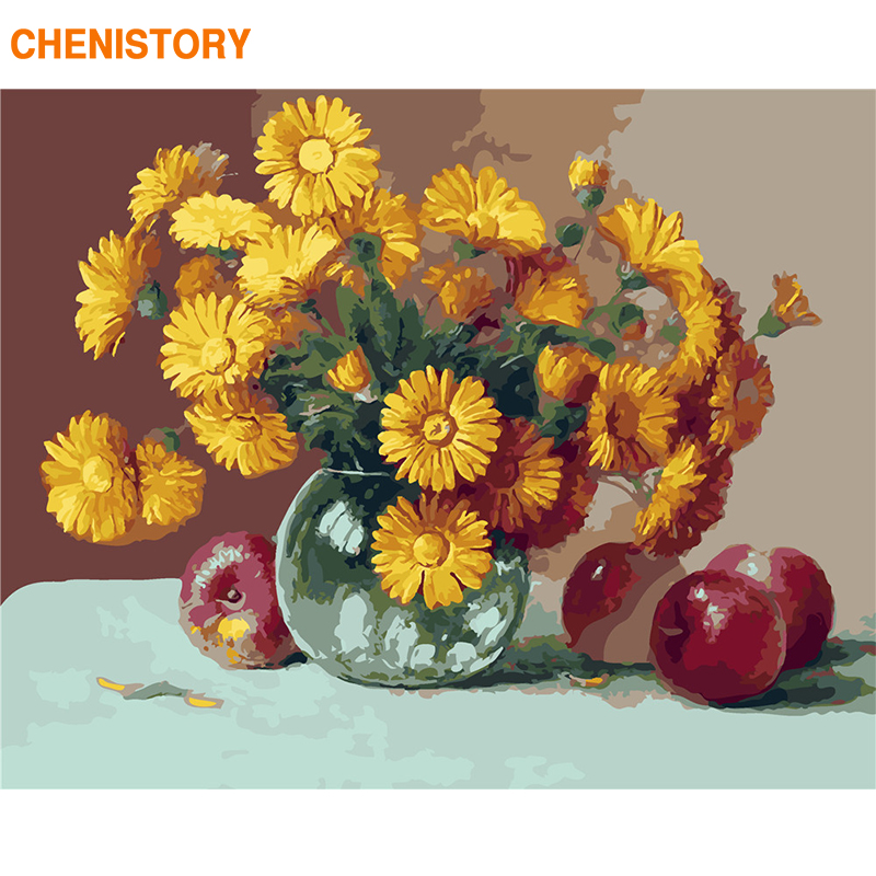 Frameless Canvas Art Oil Painting Flower Painting Design: CHENISTORY Frameless Daisy Flower DIY Painting By Numbers