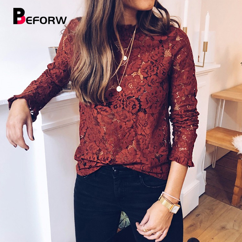 BEFORW Sexy Lace Hollow Out Perspective Blouse Shirt 2019 Women Elegant Flare Sl