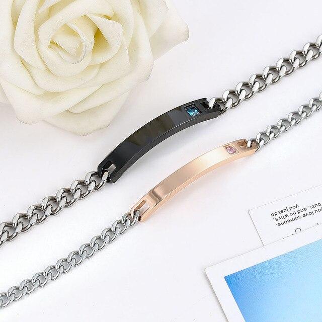 AZIZ BEKKAOUI Personalized Name Stainless Steel Bracelets For Women Men ID Bracelet Inset Zircon Stone Lover Couple Bracelet