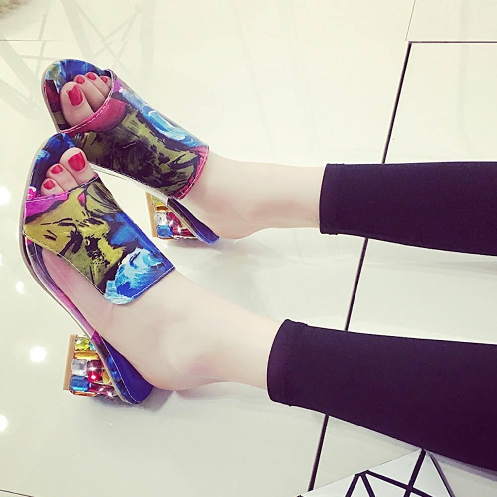 HTB1wayuKhSYBuNjSsphq6zGvVXa2 KarinLuna 2019 brand Big size 41 elegant crystals chunky Heels Summer women's Shoes Woman Sandals leisure Shoes women slippers