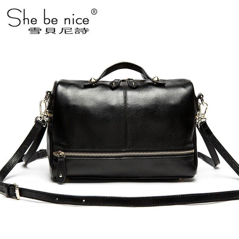 Snow Beni poem pillow type leather handbag shoulder messenger bag handbag 2016 new first layer of leather Boston bag