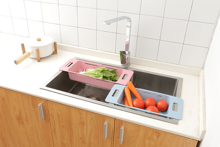 Image 5 - Kitchen Adjustable Sink Dish Drying Rack Organizer Sink Drain Basket Vegetable Fruit Holder Storage Rack 48*18.5*8cm-in Racks & Holders from Home & Garden