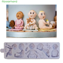 1set Babies Mould Cry Happy Lovely Baby DIY New Kind Baby Birthday Cake Mold Fondant Chocolate Silicone Mold Candy Mold