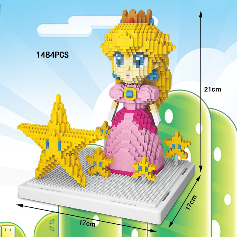 Classic super mario bros princess Peach nanoblock Nintendoes game micro diamond building block star model figures toys for gifts
