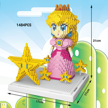 Classic super mario bros princess Peach nanoblock Nintendoes game micro diamond building block star model figures toys for gifts(China)