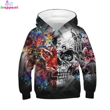 цена на New Cool Tiger Skull Girls Boys Clothes 2019 Autumn Winter Hooded Coat Pullover Hoody Tops Kids Hoodie Girls Boys Sweatshirts