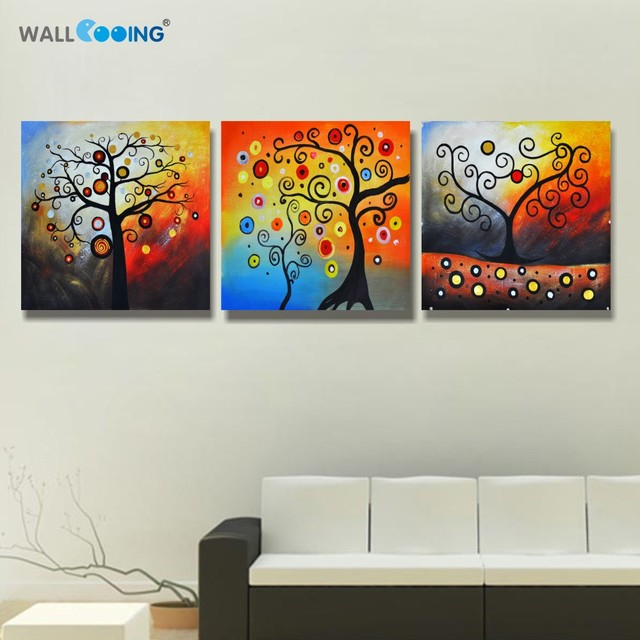 3 panels Van Gogh wall art paint Abstract apple blossoms canvas ...