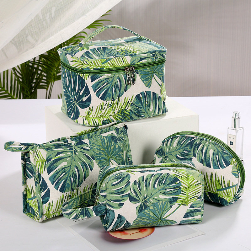 2019 Summer New Fashion Simple Ladies Canvas Storage Bag Ins Style Creative Printing Large Capacity Cosmetic Bag Travel Wash Bag
