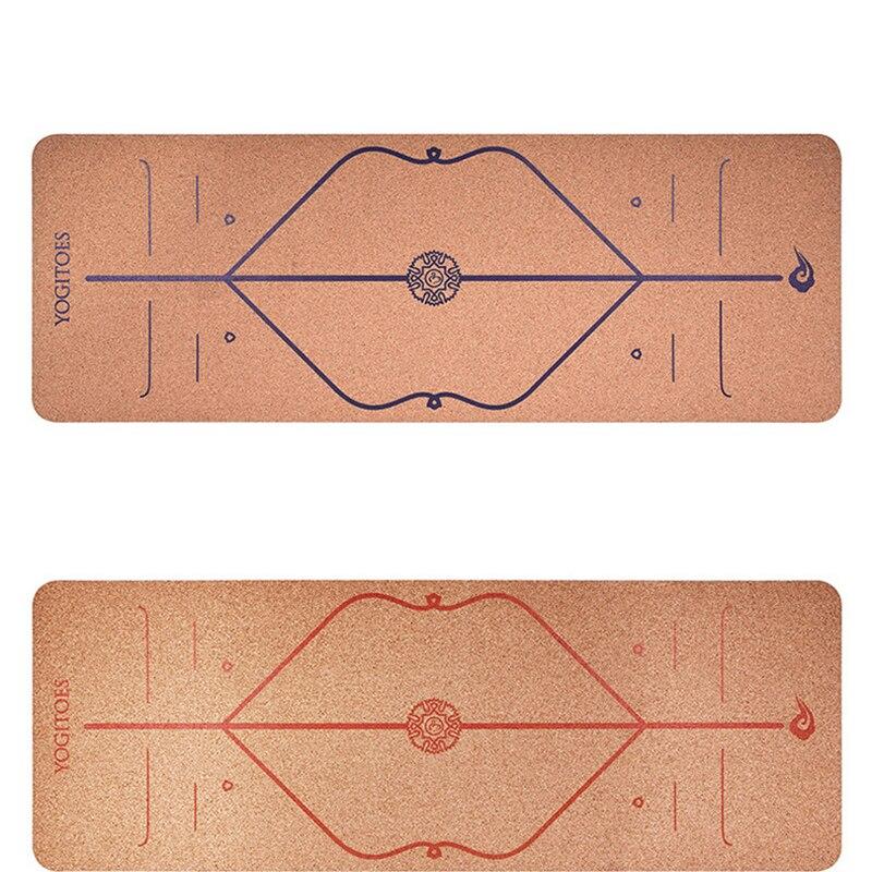 Мм 5 мм TPE + пробковые коврики для йоги позиционная линия безвкусный нескользящий коврик для йоги похудение Бодибилдинг высокой плотности ко...