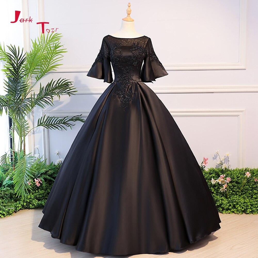 Шуточную Quaon с расклешенными рукавами открытой спиной аппликации Бисер черные атласные Свадебные и Бальные платья с юбкой 2018 Vestido De Noiva