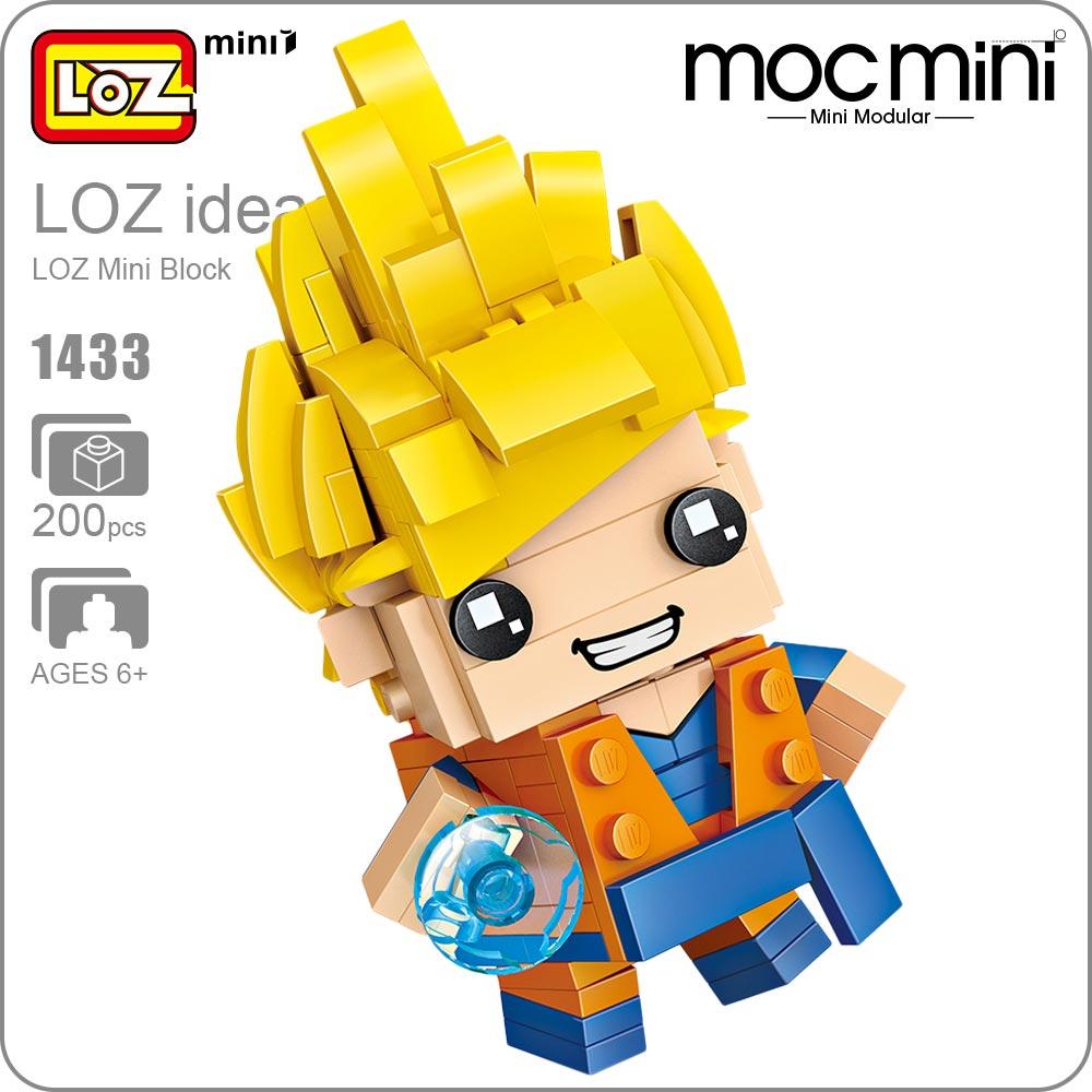 LOZ Mini Blocks Bricks Goku Super Saiyan 3 Figura Japan Anime Action Figure Plastic Building Assembly Toy for Children Gift 1433 loz diamond blocks dans blocks iblock fun building bricks movie alien figure action toys for children assembly model 9461 9462