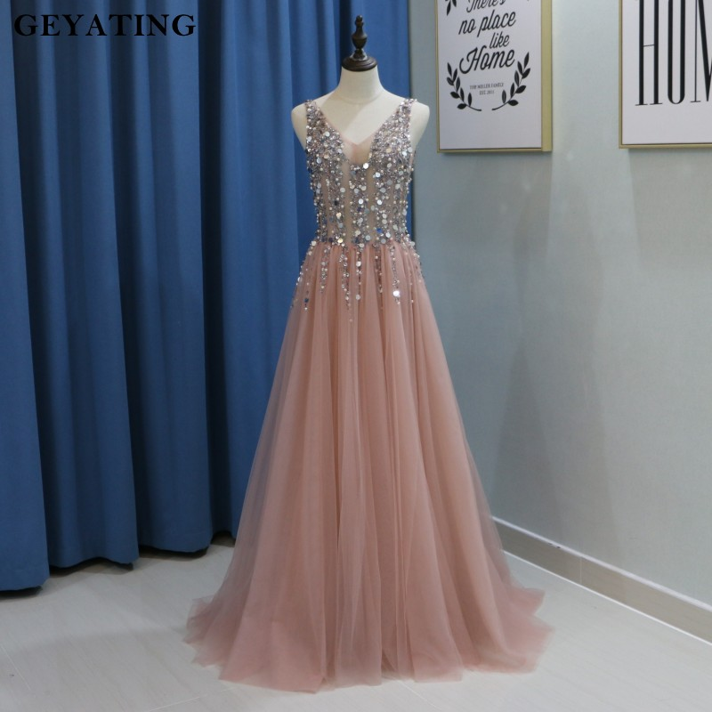Dirty Pink Illusion V-neck Long   Prom     Dresses   2018 Bling Bling Beaded Pearls Special Occasion   Dresses   for Women Formal Evening