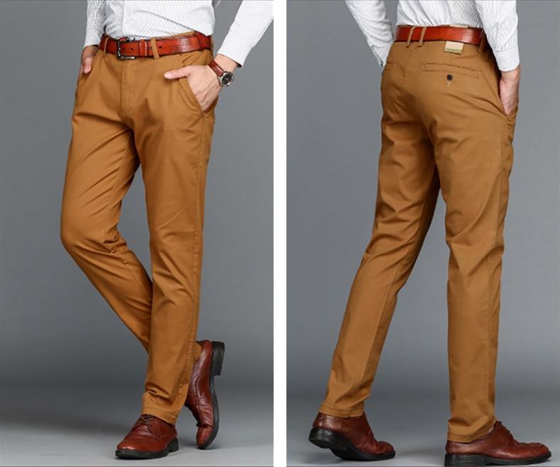HTB1wazQaRjTBKNjSZFwq6AG4XXaf VOMINT Mens Pants High Quality Cotton Casual Pants Stretch male trousers man long Straight 4 color Plus size pant suit 42 44 46
