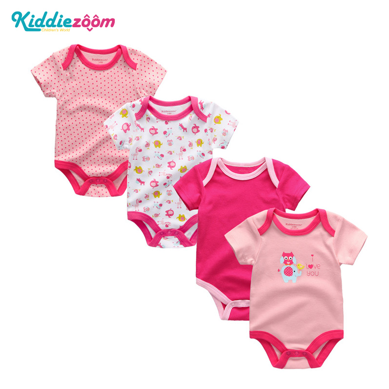 4pcs/lot Newborn summer children clothing lucky child Bebe cotton baby costume short sleeve baby rompers 2018 baby girl clothes