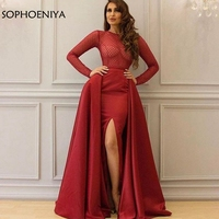 Elegant Long Sleeve Red Arabic Evening Dress 2019 Slit Side kaftan Formal dress Evening Gowns robe dubai soiree