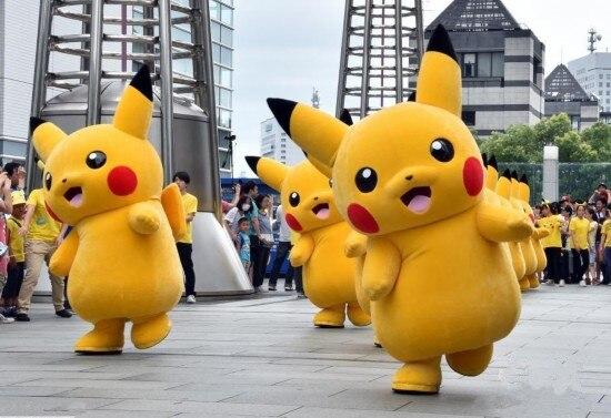 Joli Costume de mascotte jaune Pikachu mascotte Pokemon poche monstre avec de longues oreilles jaunes noires joues rouges livraison gratuite