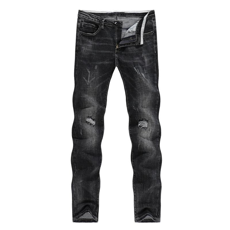 KSTUN Men's Biker Jeans Black Thick Stretch Slim Straight Ripped Hip Hop Holes Male Pants Denim