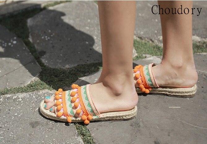 Top Designer balle Pom Pom dame pantoufles Floral embelli femmes appartements gladiateur sandales chaussures fille tongs chaussures livraison gratuite - 3