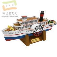 3D бумажная модель сделай сам ручная работа Бумажная модель для открытого колеса паровой двигатель корабль