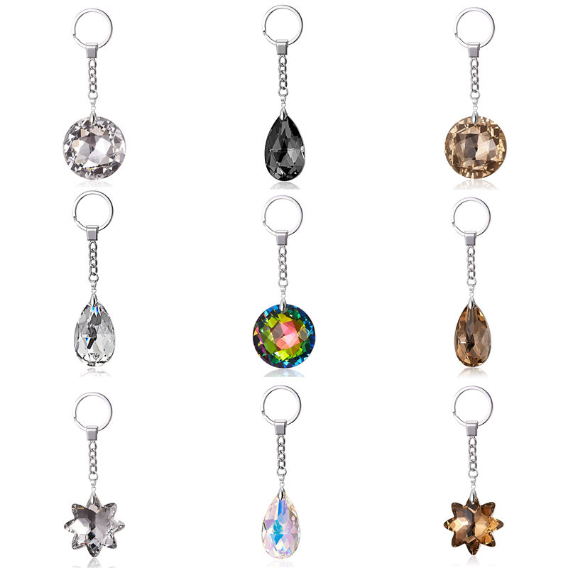 Popular Crystal Flower Round Classic 9 Colors Key Hook Chain Jewelry Making For Women Keychain Accessories Jewelry