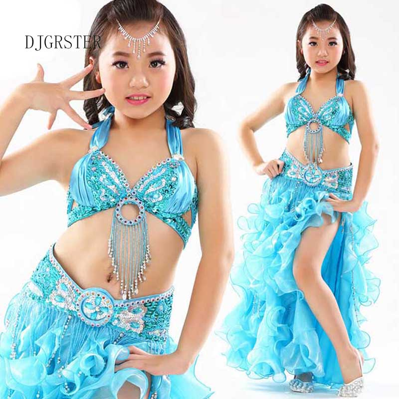 DJGRSTER 2018 Kids Belly Dance Costumes 2-3pcs(Bras+Skirt+Waist Chain ) Gypsy Costume Danca Do Ventre Vestido Indiano 8 colors