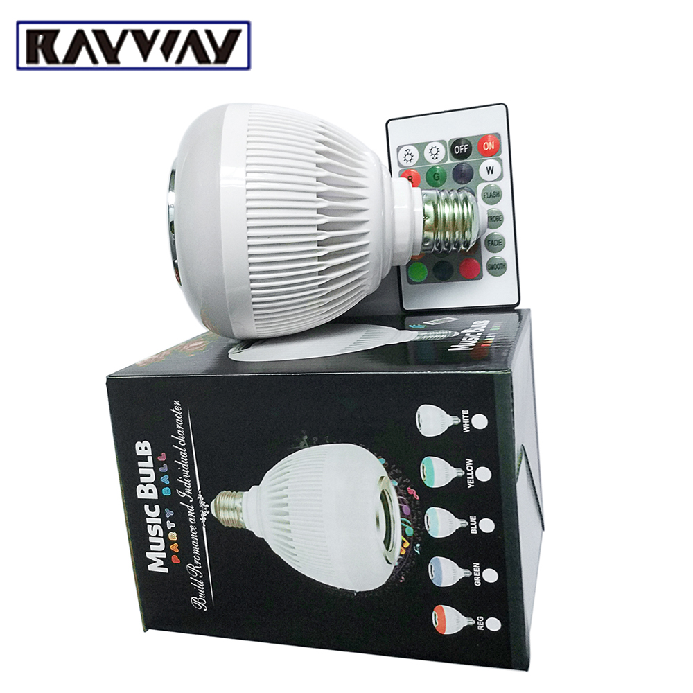 RAYWAY Wireless Bluetooth 12W LED Music Bulb Audio Speaker 24 Keys remote Control E27 RGBW Music Playing Light Party Ball Lamp newstyle portable wireless audio bluetooth speaker music playing e27 dimmable led light bulb lamp with rf remote control brightness adjustable and volume up down for smartphones tablets pcs and other bluetooth enabled devices