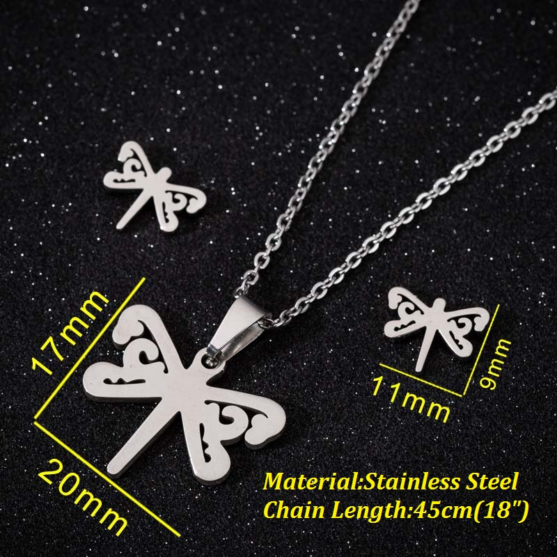 Hfarich Simple Classical Gold Steel Color Dragonfly Pendants Necklaces for Women Beautiful Chokers Insect Cute Jewelry Of Gifts