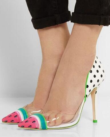 Verano Cuero Tamaño Pvc Con Grande Mujeres De Patente Pie Bombas Mujer Sandía Vestido En Dedo Puntera Y Sandalias Estilo 10 Del Punta Zapatos TwzHnq0rw